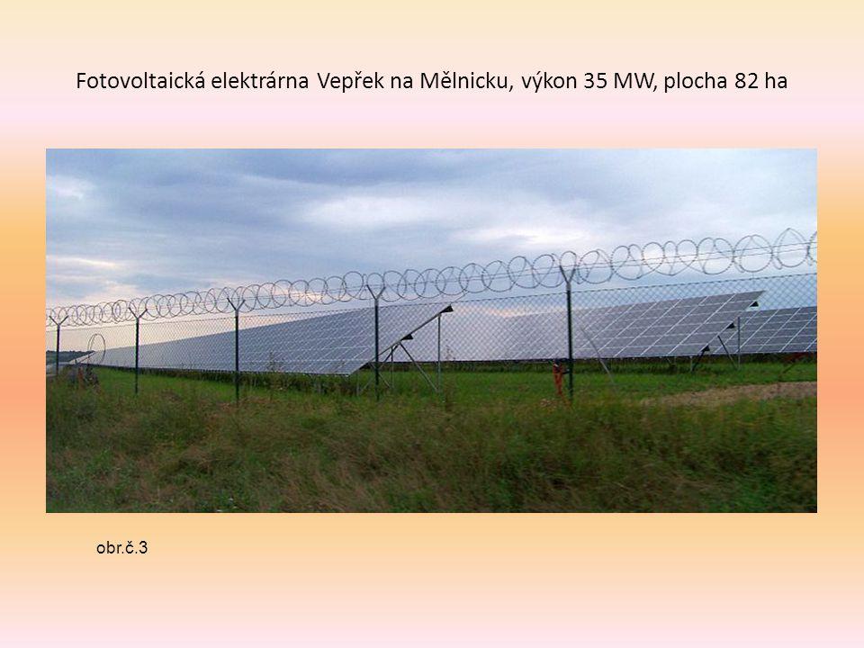 Fotovoltaická elektrárna Vepřek na Mělnicku, výkon 35 MW, plocha 82 ha