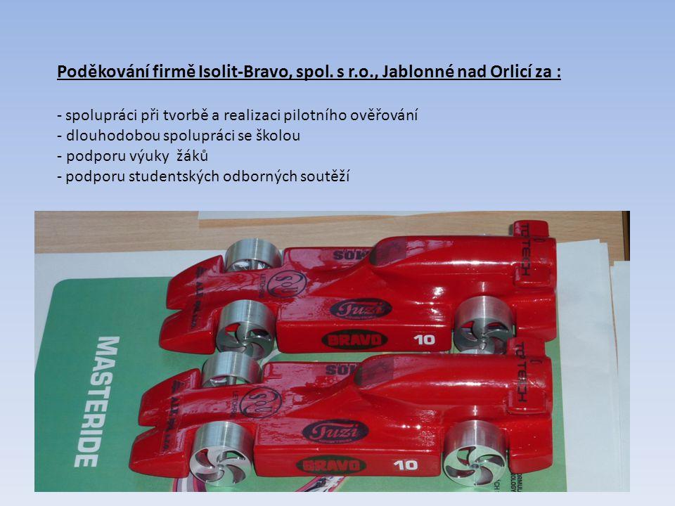 Poděkování firmě Isolit-Bravo, spol. s r.o., Jablonné nad Orlicí za :