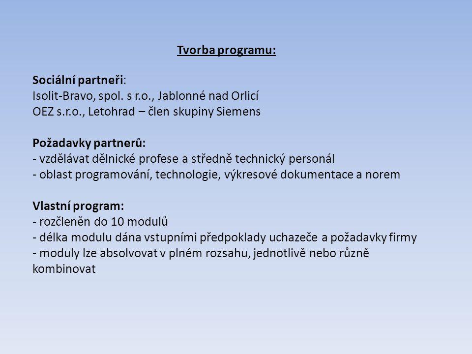 Tvorba programu: Sociální partneři: Isolit-Bravo, spol. s r.o., Jablonné nad Orlicí. OEZ s.r.o., Letohrad – člen skupiny Siemens.