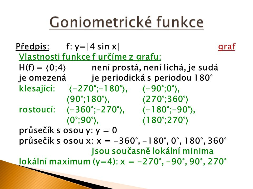 Goniometrické funkce