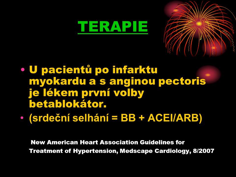 TERAPIE U pacientů po infarktu myokardu a s anginou pectoris je lékem první volby betablokátor. (srdeční selhání = BB + ACEI/ARB)