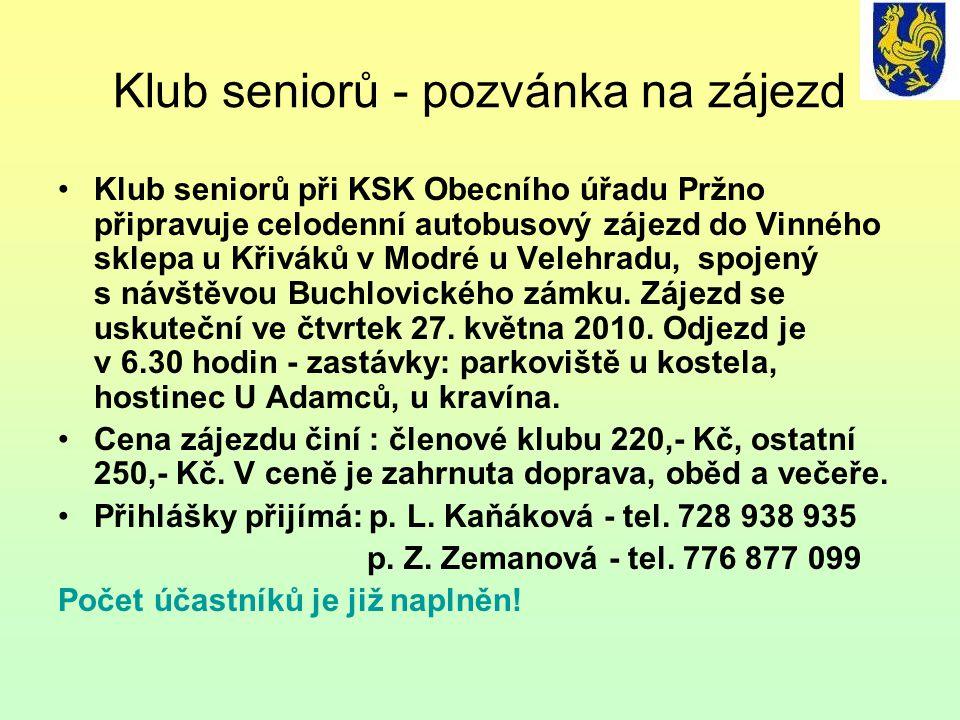Klub seniorů - pozvánka na zájezd