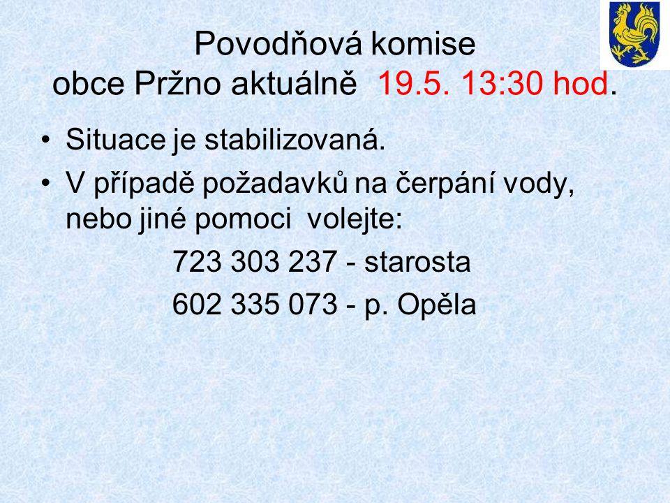 Povodňová komise obce Pržno aktuálně 19.5. 13:30 hod.
