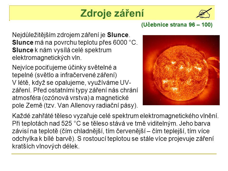 Zdroje záření Nejdůležitějším zdrojem záření je Slunce.