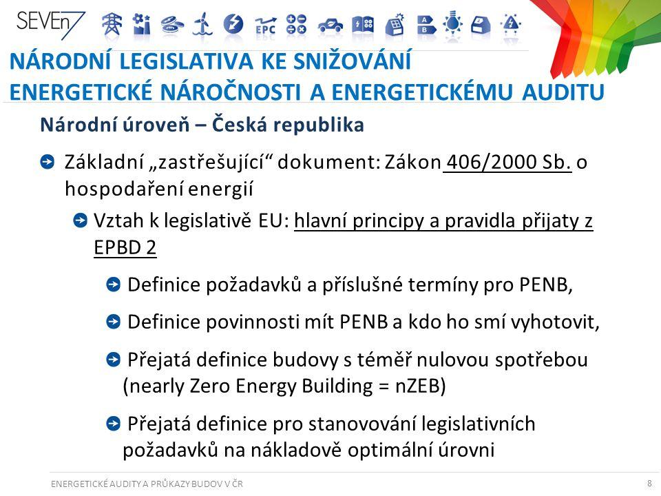 NÁRODNÍ LEGISLATIVA KE SNIŽOVÁNÍ ENERGETICKÉ NÁROČNOSTI A ENERGETICKÉMU AUDITU