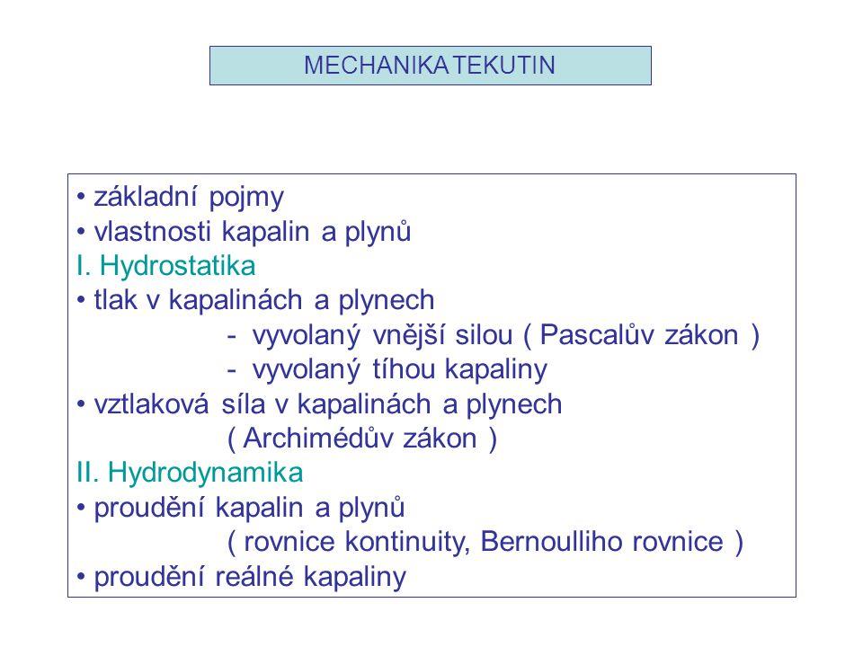 vlastnosti kapalin a plynů I. Hydrostatika