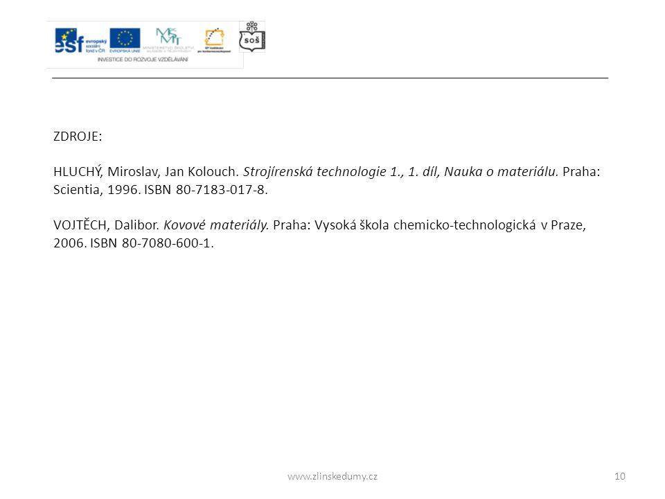 ZDROJE: HLUCHÝ, Miroslav, Jan Kolouch. Strojírenská technologie 1., 1. díl, Nauka o materiálu. Praha: Scientia, 1996. ISBN 80-7183-017-8.