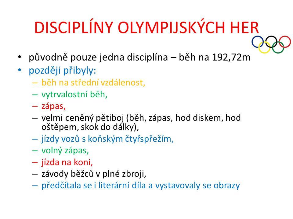 DISCIPLÍNY OLYMPIJSKÝCH HER
