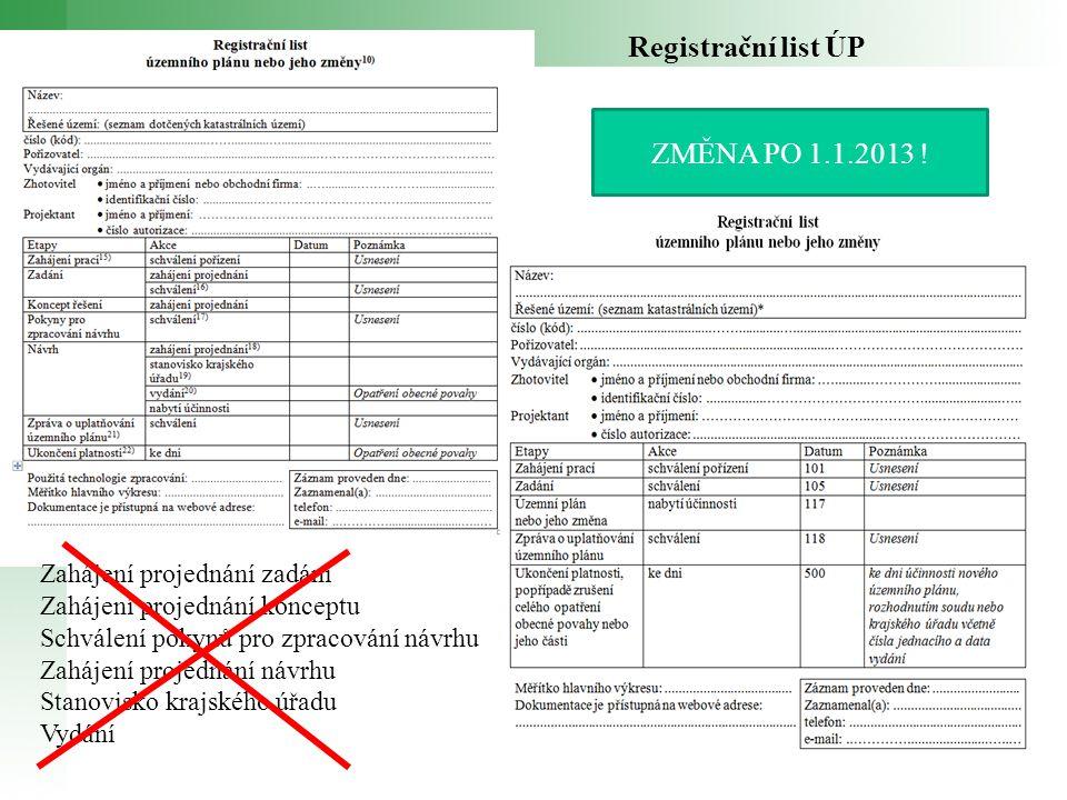 Registrační list ÚP ZMĚNA PO 1.1.2013 ! Zahájení projednání zadání