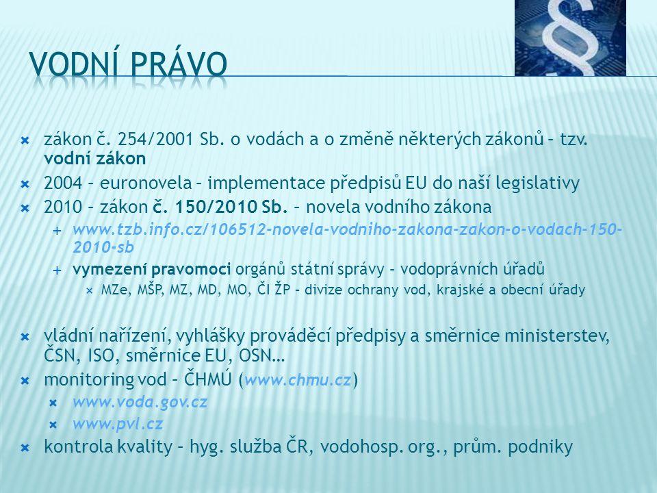 VODNÍ PRÁVO zákon č. 254/2001 Sb. o vodách a o změně některých zákonů – tzv. vodní zákon.