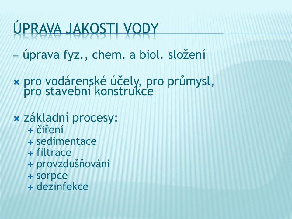 úprava jakosti vody = úprava fyz., chem. a biol. složení