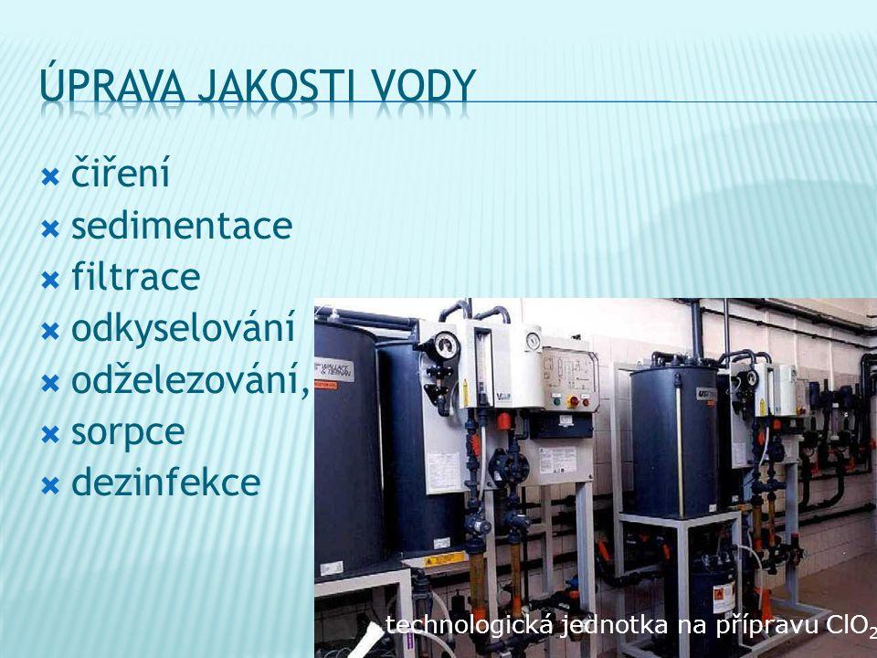 úprava jakosti vody čiření sedimentace filtrace odkyselování
