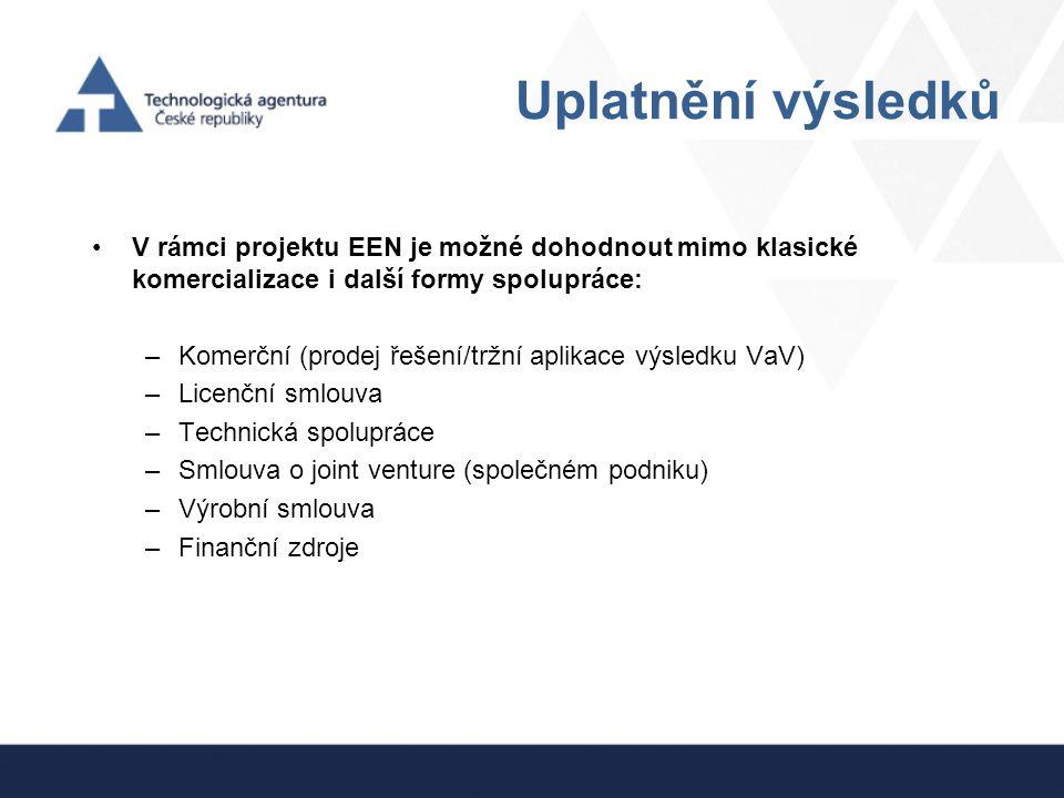 Uplatnění výsledků V rámci projektu EEN je možné dohodnout mimo klasické komercializace i další formy spolupráce: