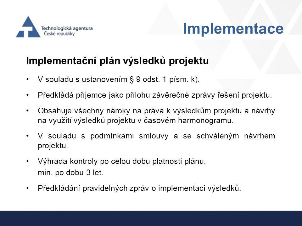 Implementace Implementační plán výsledků projektu