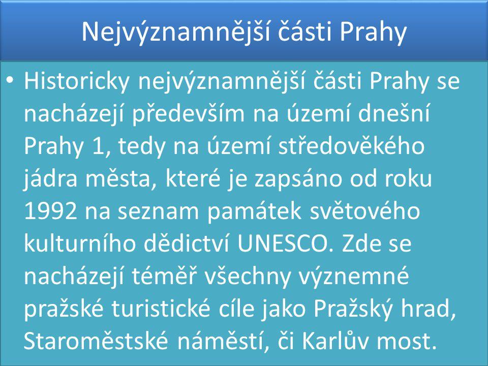 Nejvýznamnější části Prahy