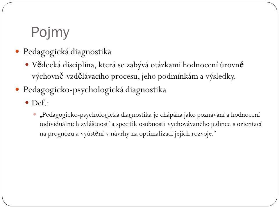 Pojmy Pedagogická diagnostika Pedagogicko-psychologická diagnostika