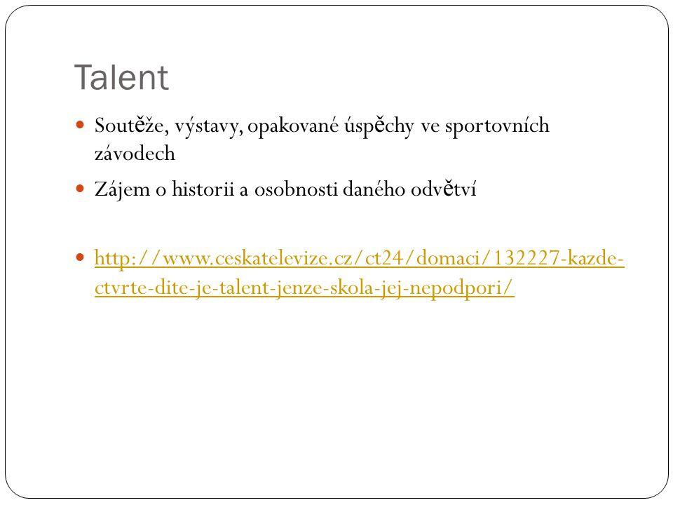 Talent Soutěže, výstavy, opakované úspěchy ve sportovních závodech