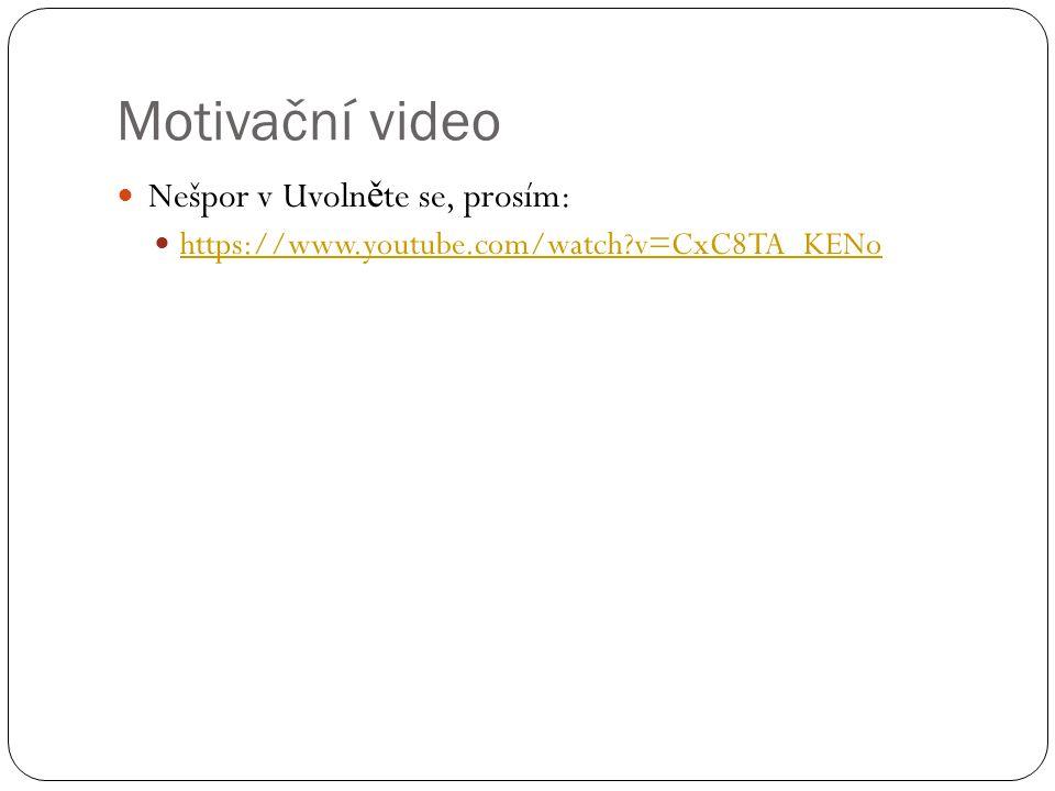 Motivační video Nešpor v Uvolněte se, prosím: