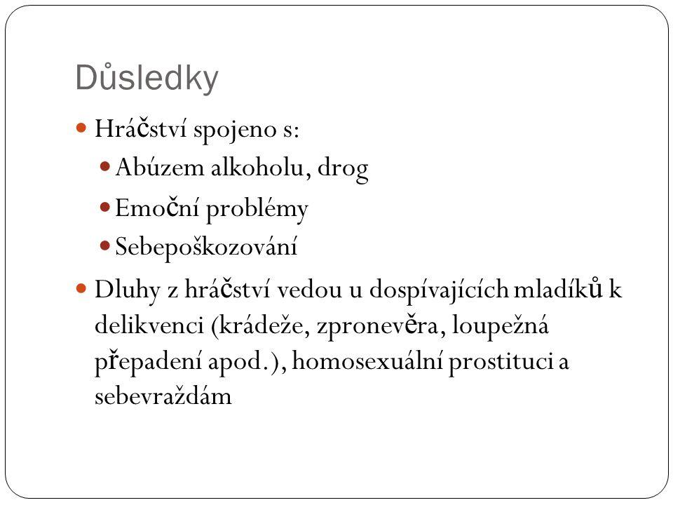Důsledky Hráčství spojeno s: Abúzem alkoholu, drog Emoční problémy