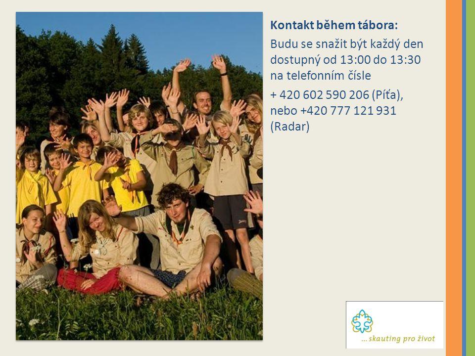 Kontakt během tábora: Budu se snažit být každý den dostupný od 13:00 do 13:30 na telefonním čísle.