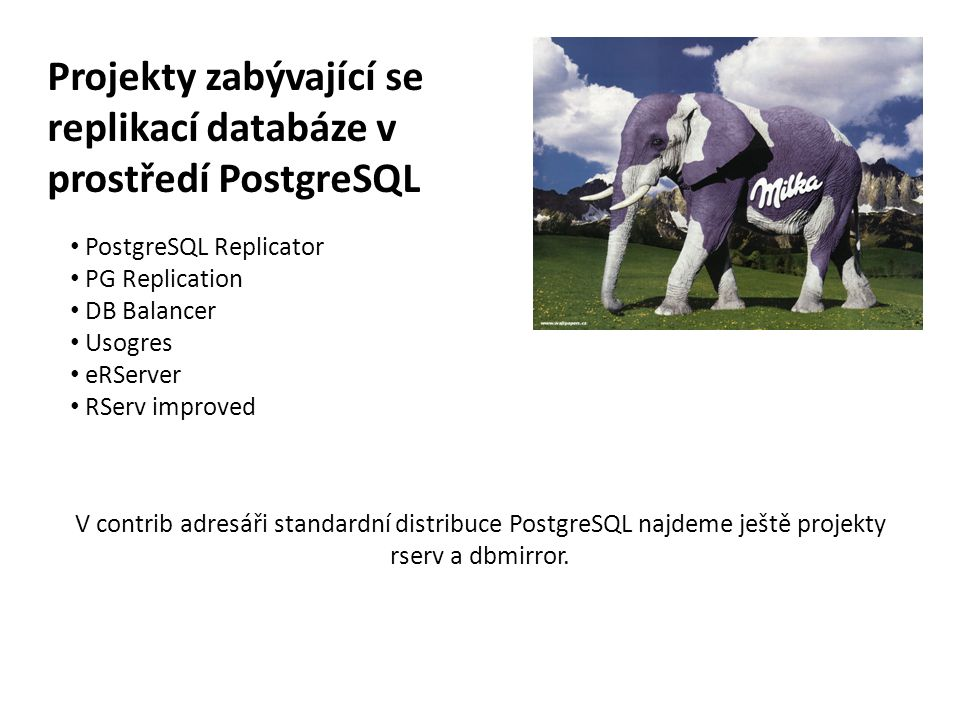 Projekty zabývající se replikací databáze v prostředí PostgreSQL
