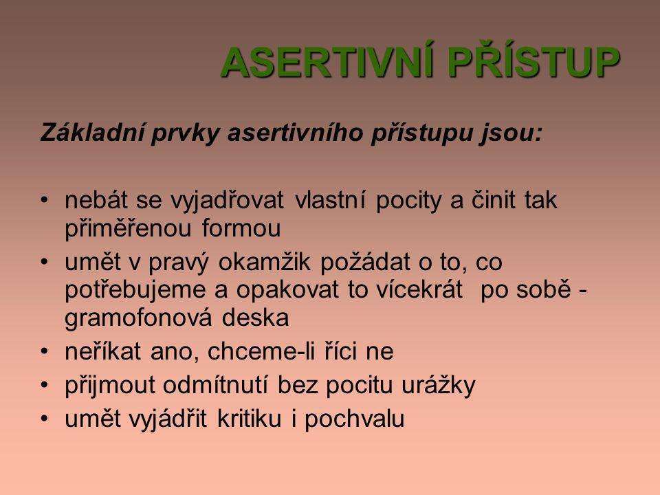 ASERTIVNÍ PŘÍSTUP Základní prvky asertivního přístupu jsou: