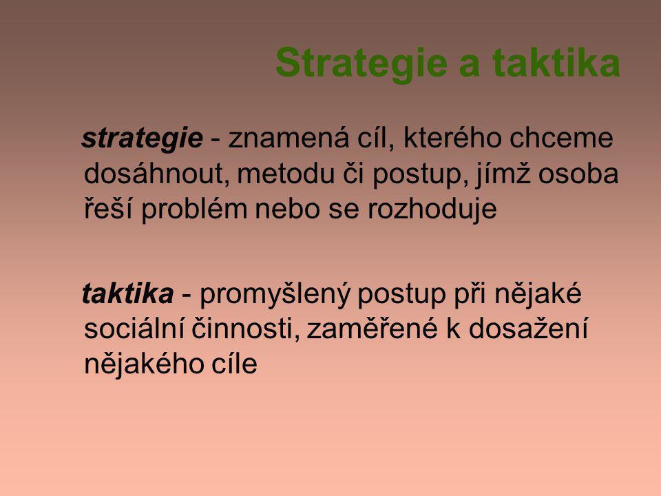 Strategie a taktika strategie - znamená cíl, kterého chceme dosáhnout, metodu či postup, jímž osoba řeší problém nebo se rozhoduje.