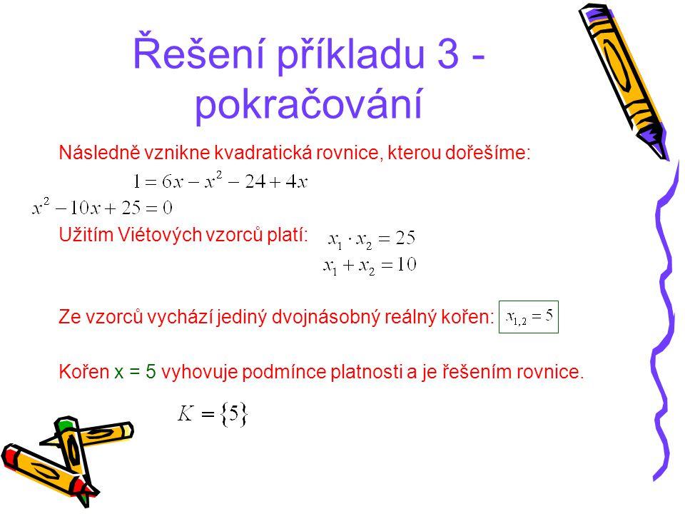 Řešení příkladu 3 - pokračování