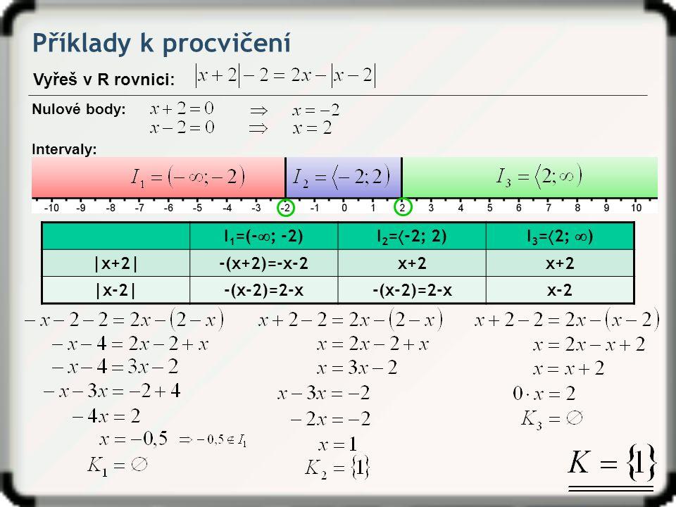 Příklady k procvičení Vyřeš v R rovnici: I1=(-; -2) I2=-2; 2)