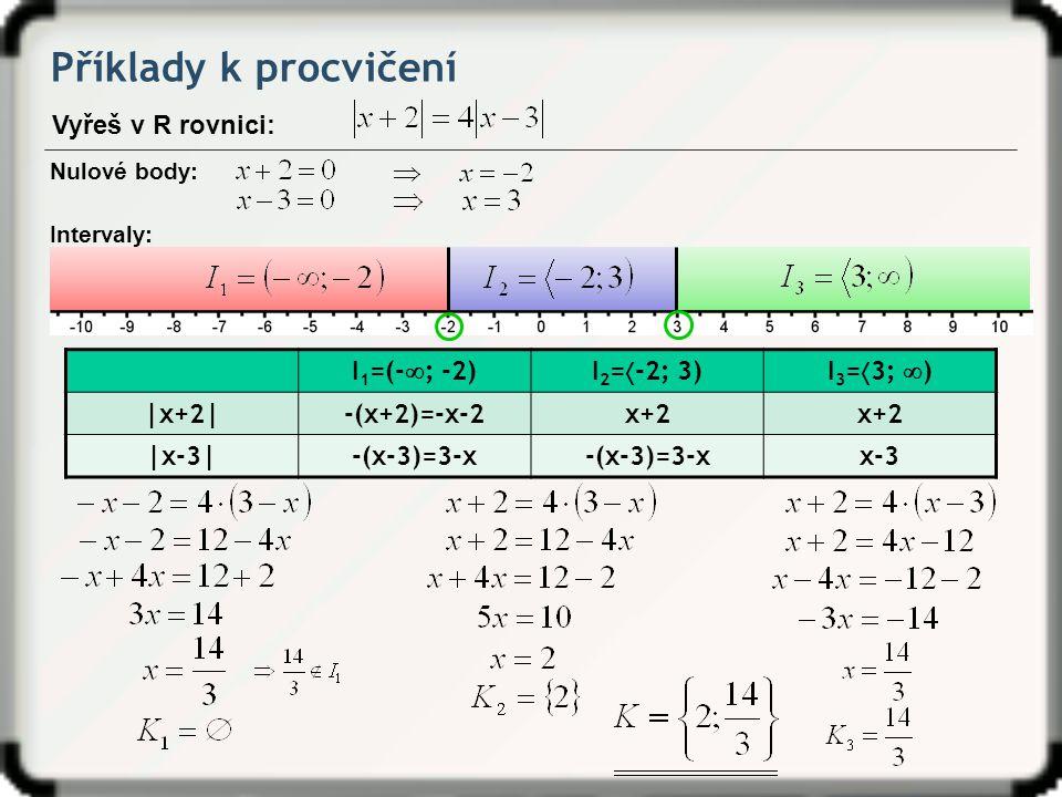 Příklady k procvičení Vyřeš v R rovnici: I1=(-; -2) I2=-2; 3)