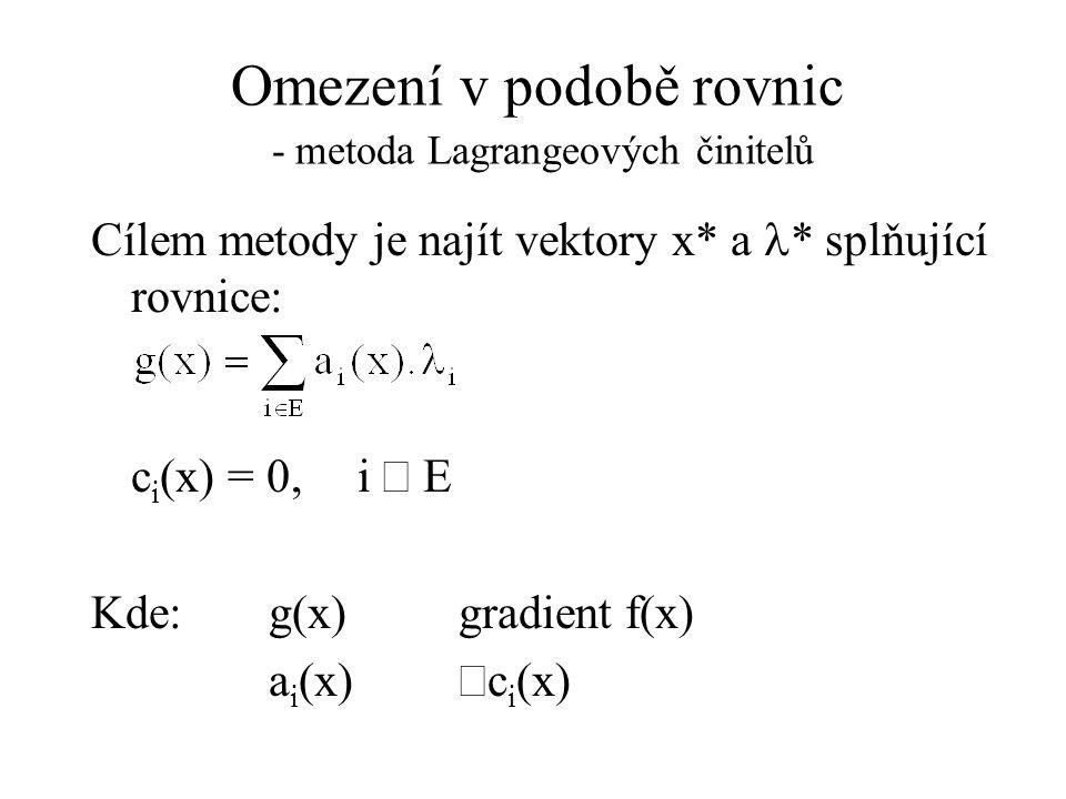 Omezení v podobě rovnic - metoda Lagrangeových činitelů