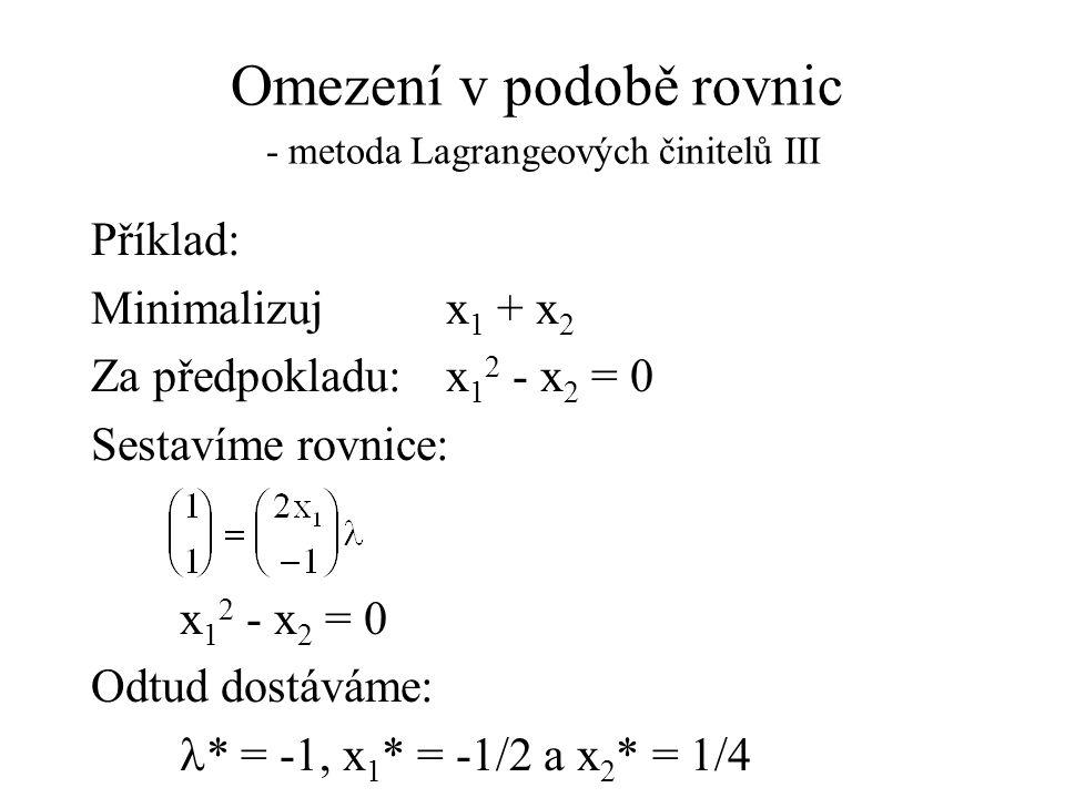 Omezení v podobě rovnic - metoda Lagrangeových činitelů III