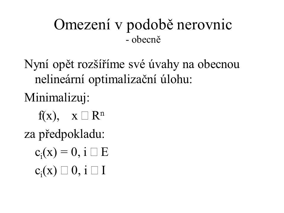 Omezení v podobě nerovnic - obecně