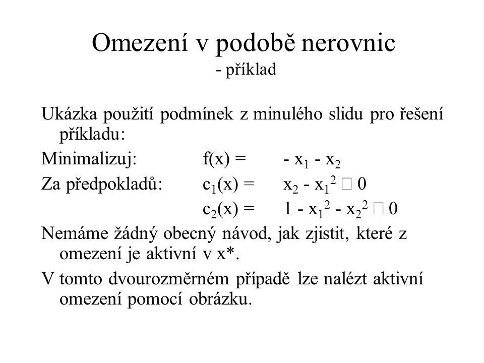 Omezení v podobě nerovnic - příklad