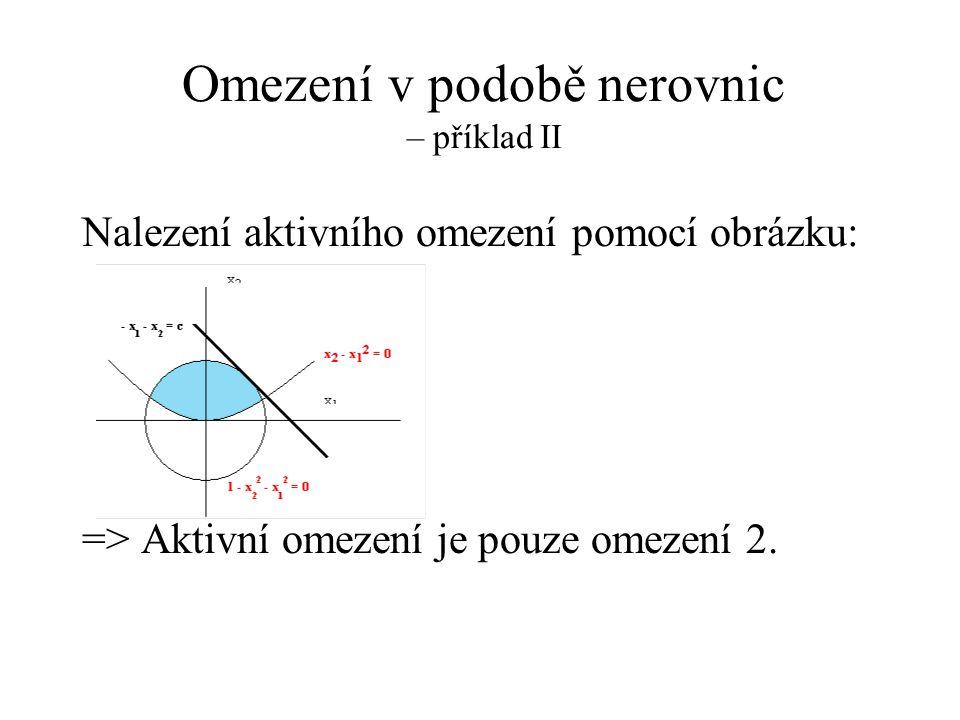 Omezení v podobě nerovnic – příklad II
