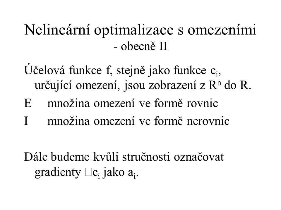 Nelineární optimalizace s omezeními - obecně II
