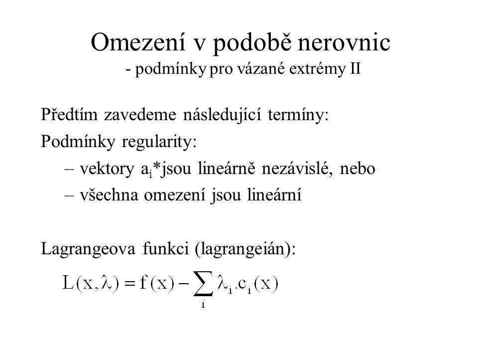 Omezení v podobě nerovnic - podmínky pro vázané extrémy II