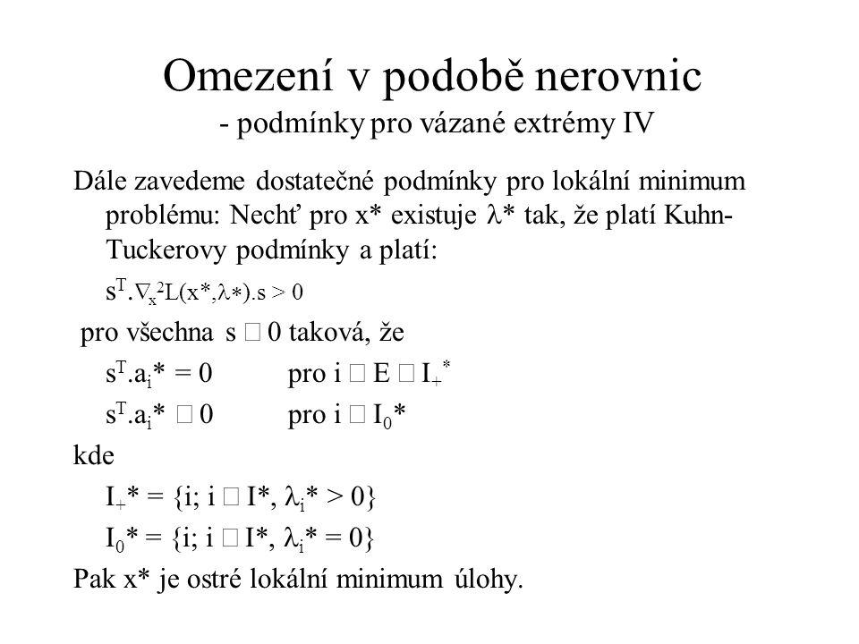 Omezení v podobě nerovnic - podmínky pro vázané extrémy IV
