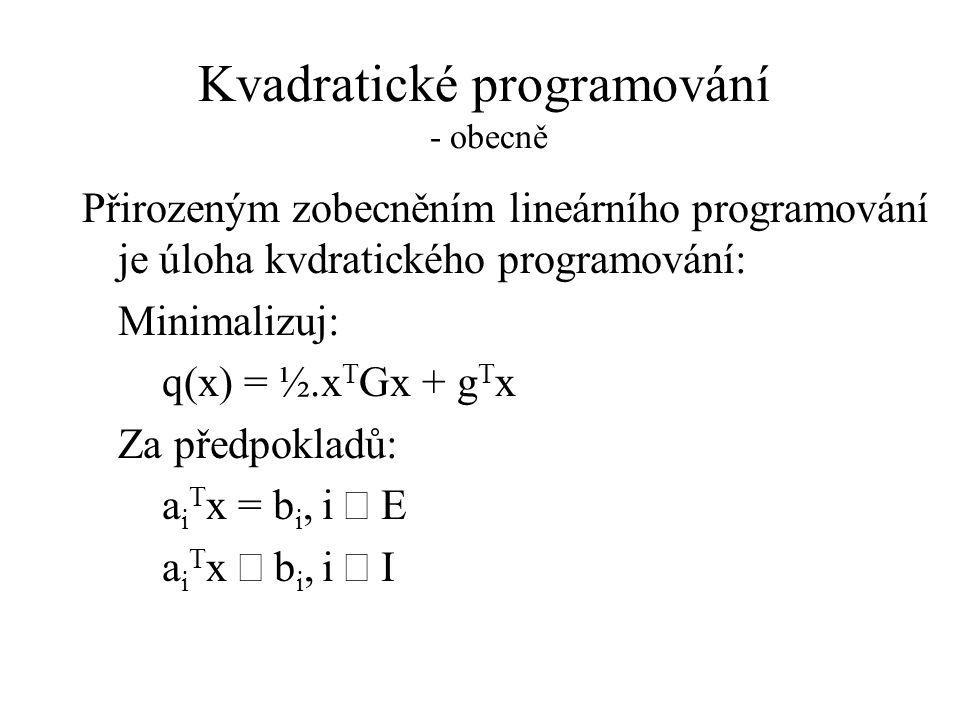 Kvadratické programování - obecně