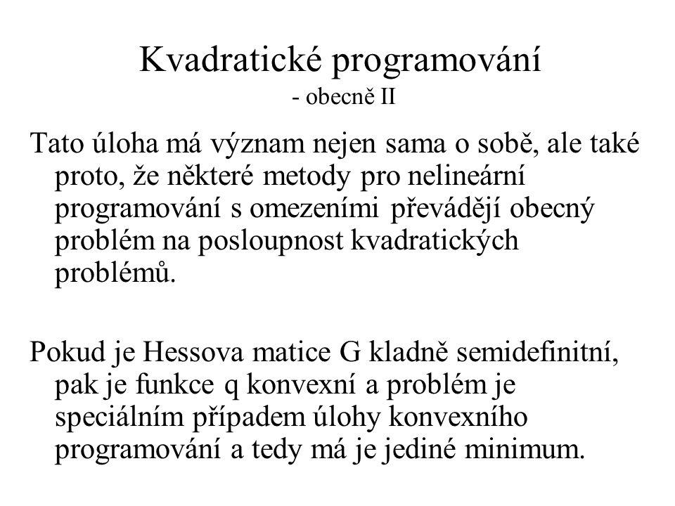 Kvadratické programování - obecně II