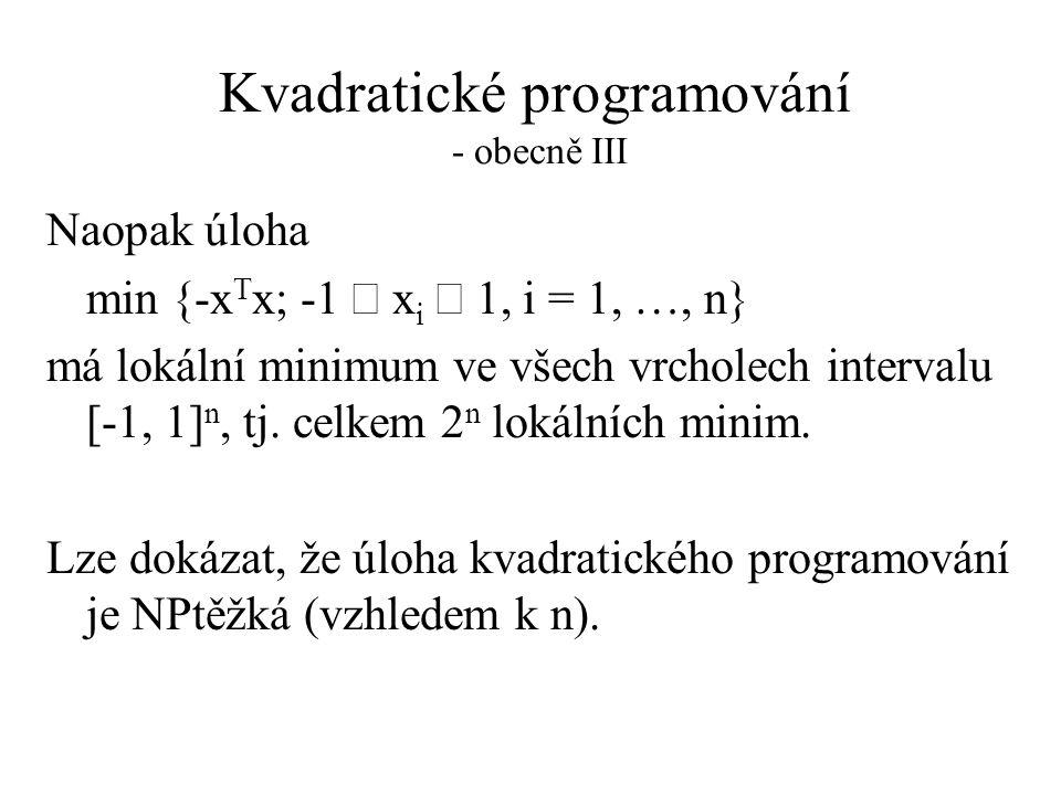 Kvadratické programování - obecně III