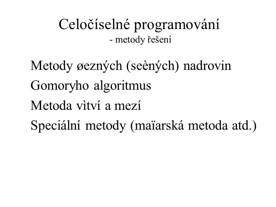 Celočíselné programování - metody řešení