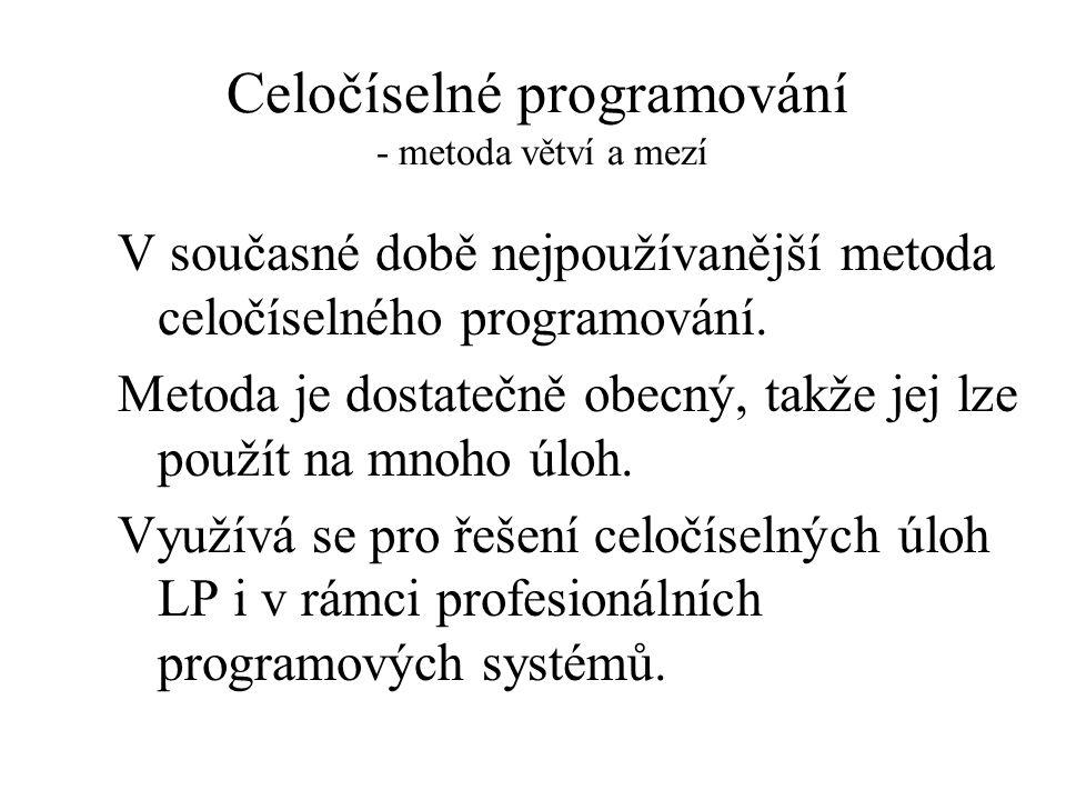 Celočíselné programování - metoda větví a mezí