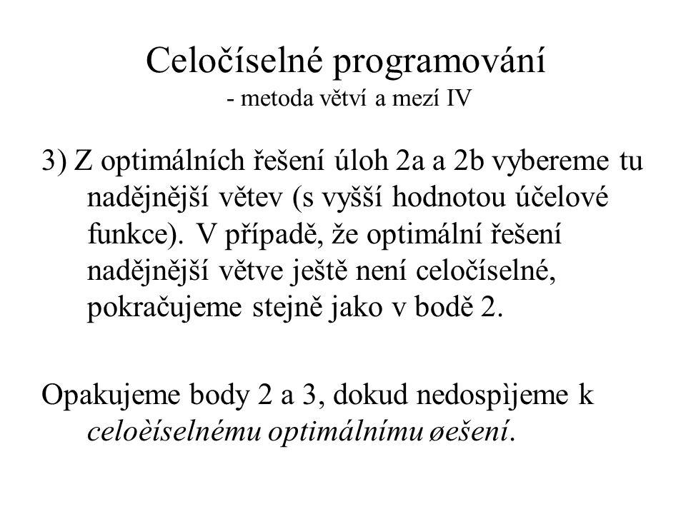 Celočíselné programování - metoda větví a mezí IV