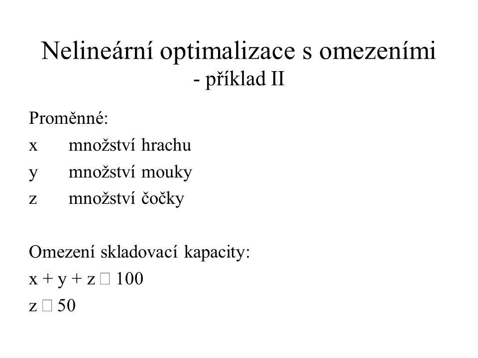 Nelineární optimalizace s omezeními - příklad II