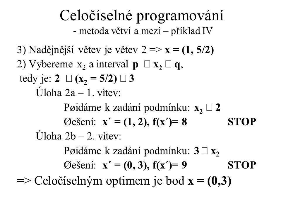 Celočíselné programování - metoda větví a mezí – příklad IV