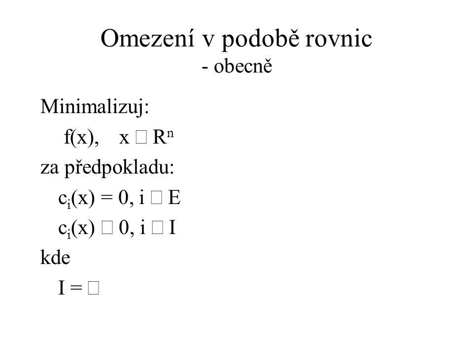 Omezení v podobě rovnic - obecně
