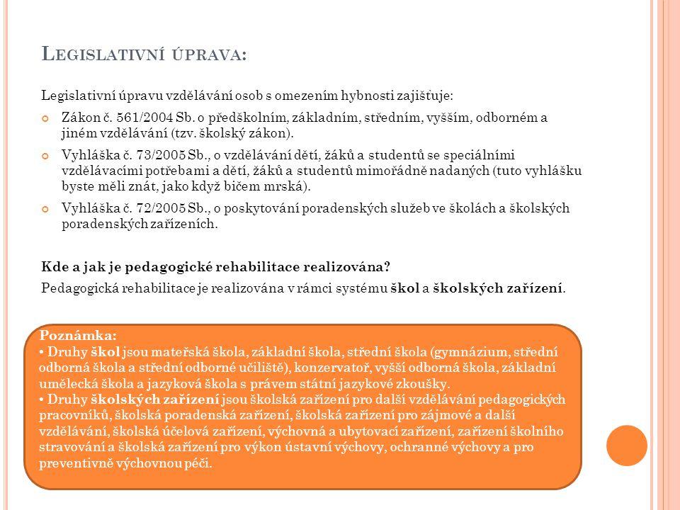 Legislativní úprava: Legislativní úpravu vzdělávání osob s omezením hybnosti zajišťuje: