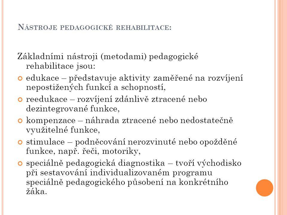 Nástroje pedagogické rehabilitace: