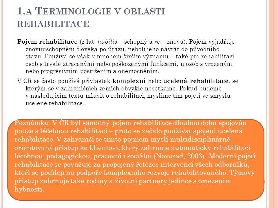1.a Terminologie v oblasti rehabilitace